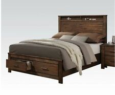 1pc Contemporary Wooden Queen Size Bedroom Bed Antique Brass Metal Oak Finish