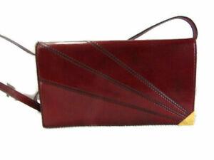 Strawbridge & Clothiers Pocketbook Clutch Burgundy Leather Deadstock 80s Vintage
