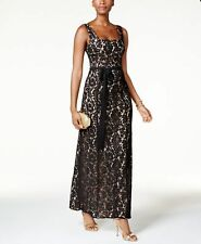 FAME AND PARTNERS $279 Womens New 1140 Black Floral Lace Sheath Dress 4 B+B