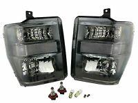 Crystal Black Headlights w/ Clear Corner for 08-10 Ford F250 F350 F450 SuperDuty