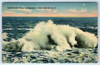 Vintage Linen Postcard Greetings From Riverhead Long Island NY Crashing Wave