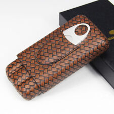 Cohiba Knitting Pattern Embossed Leather Cigar Case Travel Holder w/Cutter