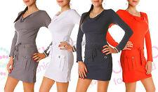 Ladies Mini Dress With Pockets & Belt Cowl Neck Long Sleeve Tunic Size 8-12 4034