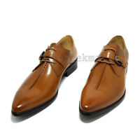 Handmade Men's Leather New Stylish Brown  Monk Strap Lace Up Formal shoes