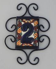 1 HIGH RELIEF Mexican Ceramic Number Tiles & Horizontal Iron Frame