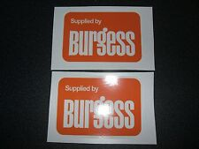 2x 'supplied by burgess' DEALER STICKER/DECALS(CLASSIC MARSHALL 802,804 TRACTOR)