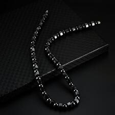 "19"" Men Womens Black Hematite Magnetic Beads Strand Choker Necklace Magnet Clasp"