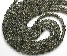 Natural Gem Moss Quartz 6-7MM Round Ball Shape Bead Necklace 19.5 Inch