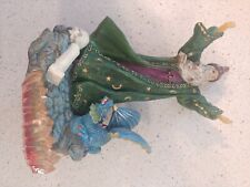 resin wizard figure with imitation crystals and dragon 8.5 inch tall
