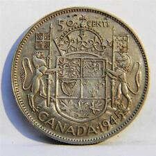 CANADA, George VI: nice die brake 1945 silver 50 Cents, toned XF