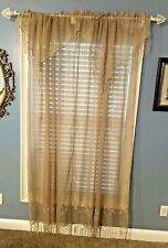 2 Pair Sheer Gold Panel Waterfall Valences Pearl Fringe Detail 4 Panels Elegant