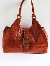 NWOT Authentic CHARLIE LAPSON Rich Brown Croc Embossed Glazed Leather Tote Bag