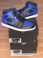 New Nike Air Jordan Retro 1 Mid Black Hyper Royal Men's 8-9.5 Sneaker 554724-077