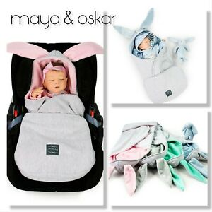 EXCLUSIVE Baby Car Seat Pushchair Hooded Blanket Bunny Unicorn Fleece Wrap 0-12m