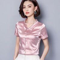 Short Sleeve Button Down Women Faux Silk Satin Shirt Formal Shiny Blouse Top
