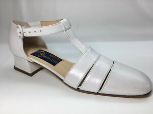 Easter Spring Joel Parker Womens Shoes 6.5 AAAA Narrow White T Strap Heel Italy
