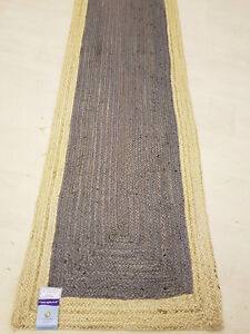 Rustic 100% Jute Beige Grey reversible 60x230cm natural fibres border runner