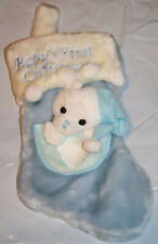Baby's First Christmas Stocking Furry Blue