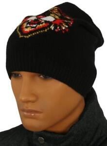 NEW GUCCI BLACK WOOL ANGRY CAT BEANIE HAT 57/S SMALL