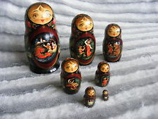 Vintage 1962 7 pcs Winter Troika Signed Moscow Russian Nesting Dolls Matryoshka