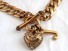 NEW  JUICY COUTURE  PAVE PUFFED HEART   GOLD STARTER NECKLACE  RETIRED