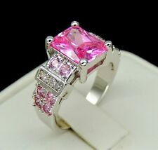 Joyau Exclusive Brilliant 5ct Emerald Cut Pink and White Cz Ring