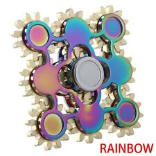 Rainbow 9 Gears Teeth Hand Fidget Spinner Linkage Metal Bearing ADHD EDC Toy xue