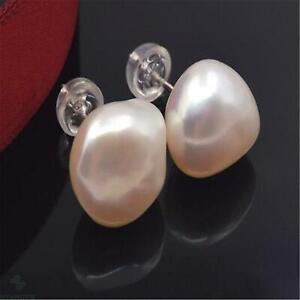 White baroque pearl earrings with 18k gold studs Gift Fashion Women Luxury