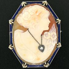 Vintage 14k Weiss Gold groß geschnitzter Gemme & Diamant blau Emaille Brosche