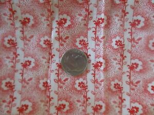 Vtg Antique Victorian 1800's Cotton Quilt Dress Fabric Tiny Red Flowers 3 Yds