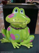 1305 GREEN FROG WITH PNK POLKA DOTS   TRINKET BOX GIFT TO GO WITH CASH /  CHECK