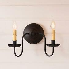 Primitive new ASHFORD Black finish 2 arm wood wall sconce light /nice