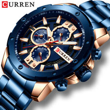 CURREN Men Watches Stainless Steel Wristwatch Male Chronograph Quartz Watch Gift