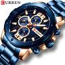 CURREN Men Watches Stainless Steel Wristwatch Male Chronograph Quartz Watch Gift