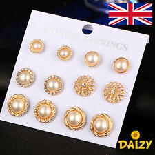 FLOWER STUD EARRINGS GOLD STUD EARRINGS FAUX PEARL STUD EARRINGS 6 PAIRS NEW