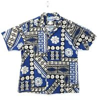 RJC Hawaiian Men's Large Blue Brown Geometric Made in Hawaii
