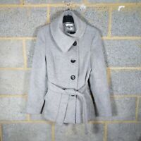 JASPER CONRAN Wool Blend grey Belted Coat/Jacket Size UK 10 very good