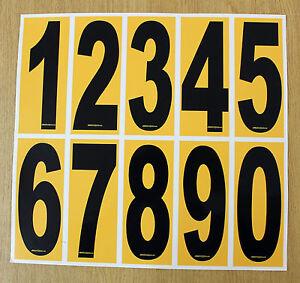 4 x Black numbers on Yellow background - European/OTK Karting Race Numbers