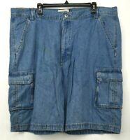 Wrangler Men's Light Blue Cotton Zip Fly 6 Pockets Denim Cargo Shorts 40