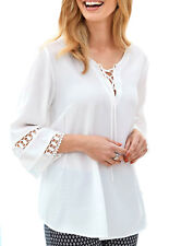 UK Sizes 10 - 26 Ladies White or Black Tie Lace Tunic Top 3/4 sleeves