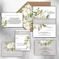 Personalised Luxury Rustic Wedding Invitations GREY/WHITE/IVORY packs of 10