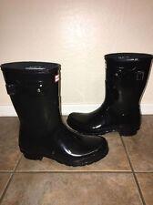 Hunter Black Gloss SHORT 8 10 42 Rubber Rain Boots EUC