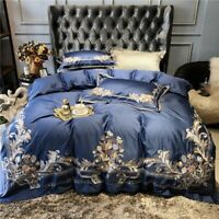 Luxury Embroidered Egyptian Cotton Bedding Set Quilt Cover Bed Sheet Pillowcase