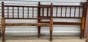 Antique vintage full wood Jenny Lind spool spindle twisted bed frame wooden