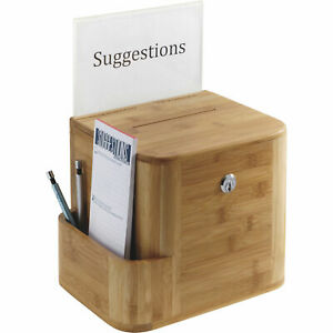 """Safco Bamboo Locking Suggestion Box - 10"""" W x 8"""" D x 14"""" H"""