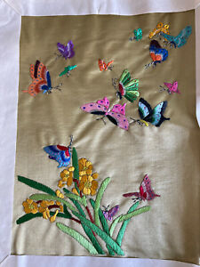 Chinese Silk Hand Embroidery Suzhou Institute Butterfly Textile Art