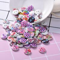 100PCS Round Shaped 15mm Multi Colourful Wooden Buttons Sewing Handmade Button