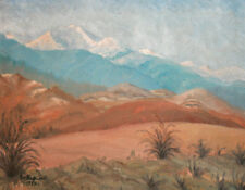 1979 Bulgarian oil painting mountain landscape signed