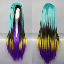 Hot Sell Long Blue Black Yellow Purple Straight Women's Lady's Hair Wig Wigs
