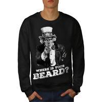 Wellcoda Beard Funny Uncle Sam Mens Sweatshirt, Uncle Casual Pullover Jumper